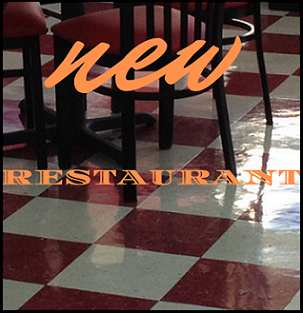Restaurant floor plus partial view of table and chair with the words New Restaurant written over it